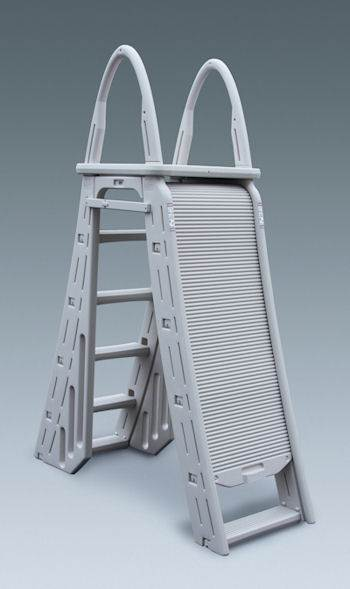 upgrade your pool ladder with the confer plastics roll guard a frame above ground pool ladder the 7200 ladder with its patented roll guard safety feature