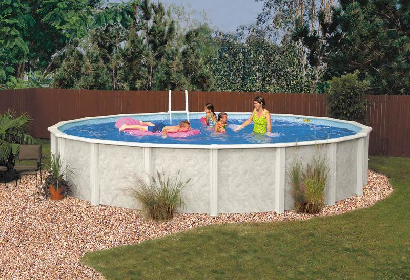 Lomart meadow breeze road round above ground pool package for Deep above ground pools