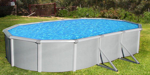 "Deep Above Ground Pools samoan oval above ground pool package 52"" deep with 8"" top rail"