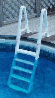 Above ground deck to pool adjustable ladder confer 6100 ebay for Swimming pool ladder replacement parts