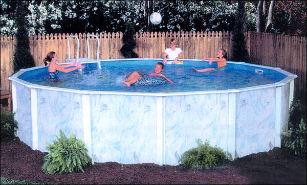 Lomart lakeshore oval above ground pool package 52 deep for Deep above ground pools